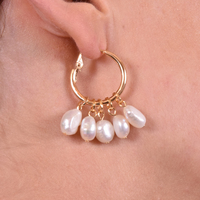 Esmee Freshwater Pearl Hoop Earrings image