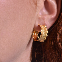Remi Gold Textured Hoop Earrings image