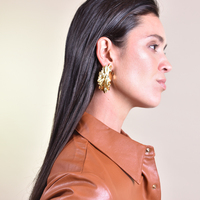 Miucia Flowy Leaf Luxury Gold Statement Earrings (my ears are pierced)
