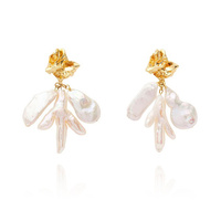 Meredith Coral Pearl Drop Earrings image