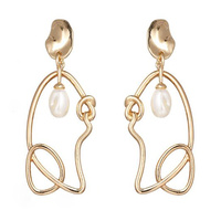 Joliette Artsy Line Art Pearl Earrings image