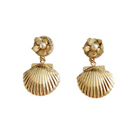 Lillie Golden Clam Drop Earrings image