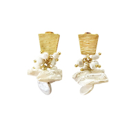 Mirele Handmade Exquisite Pearl Art Drop Earrings image