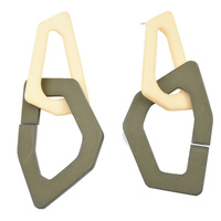 Flori Irregular Chain Earrings Khaki  (for pierced ears)