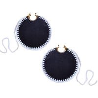 Emiri Luxury Leather Stitched Earrings (Black) image