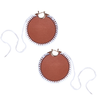 Emiri Luxury Leather Stitched Earrings (Brown) image