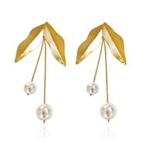 Majorie European Artisan Pearl Leaf Drop Earrings image