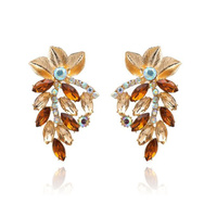 Cecelia Brown Leaf Rhinestone Drop Earrings image