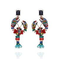 Celie Rhinestone Colourful Lobster  Drop Earrings image
