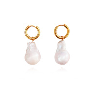 Edith Flared Baroque Pearl Earrings image