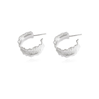 Monte Textured Silver Hoop Earrings