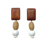 Giulia Wooden Geometric Drop Earrings image