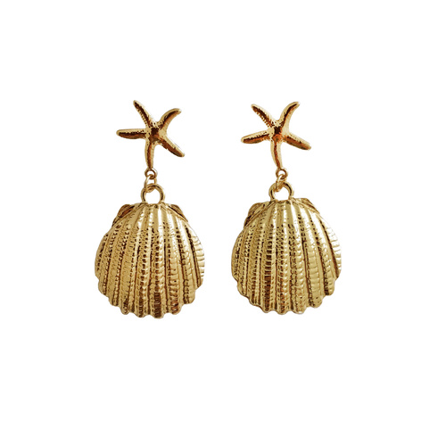 Acela Beach Goddess Star Shell Earrings (for pierced ears)